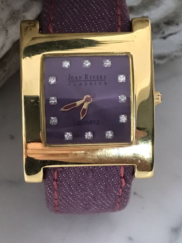 Joan Rivers Classic Watch Denim Cuff Strap lavender leather crystals - Working