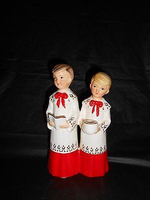 """Vintage 1950's Schmid Christmas Ceramic Choir Boys Figurine Candle Holder 7.5"""""""
