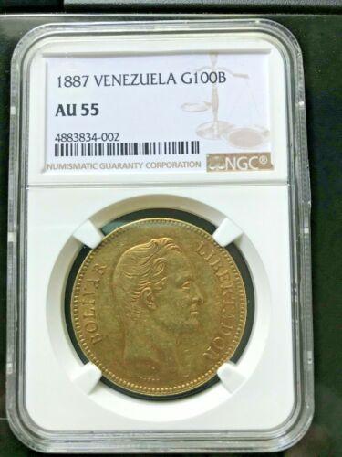 1887 Venezuela 100 Bolivares Gold Coin Pachano NGC AU55