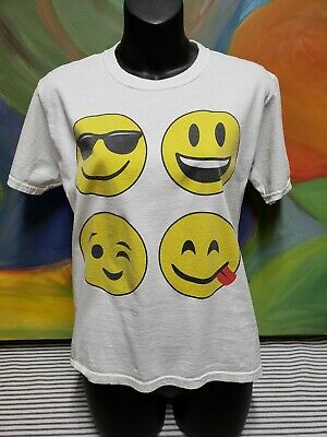 Emoji Funny Youth T-Shirt Smiley Face Texting Tee Large Sunglasses Wink (Sunglasses Text Emoji)