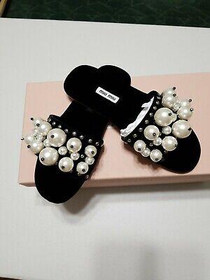 MIU MIU women shoes Nero Black velvet slide sandal with pearls studs 5XX116