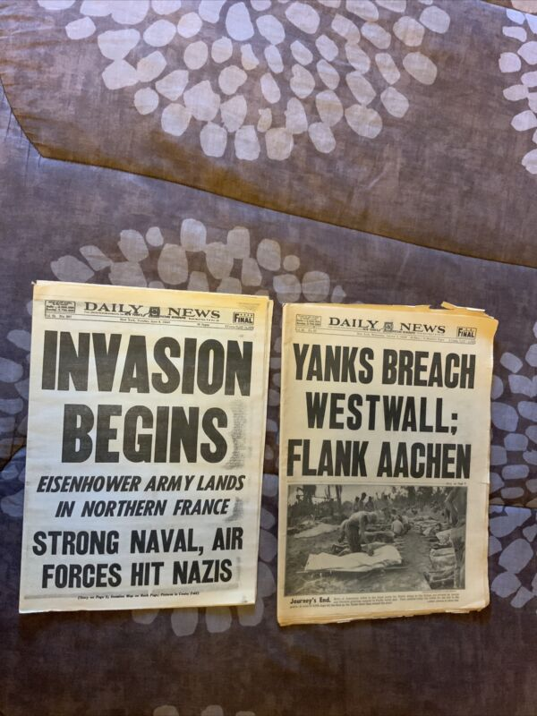 2 NY DAILY NEWS WWII D-Day Invasion & Yanks Breach Westwall
