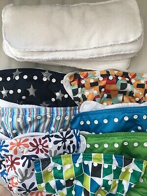 Cloth Diapers Lot Preowned 7 Sunbaby Pocket Diapers With Inserts Covers Blue Boy