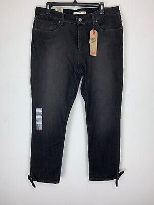 Levis Womens Jeans Classic Mid Rise Skinny Ankle Bow Black Zip Fly Size 16 NWT