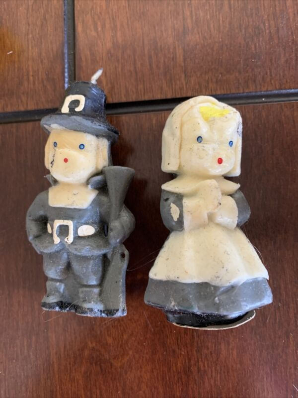 """Vintage Gurley Thanksgiving Boy And Girl PILGRIM Candles 3"""" Lot Of 2 GRAY/WHITE"""