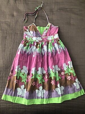 ICHI brightly coloured, patterned, cotton dress, size XS