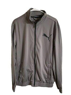 Puma Mens Track Jacket Sz L Gray Black Athletic Running Soccer Casual