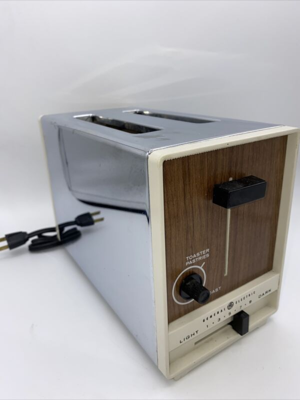 Vintage General Electric GE Stainless Steel Toaster Faux Wood FREE SHIPPING