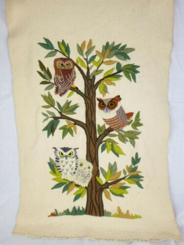 """Vtg 1971 Completed Crewel Embroidery Owls in Tree Erica Wilson Design 16.5x25.5"""""""