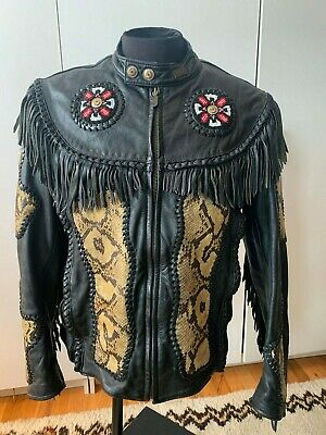 Harley Davidson Willie Black Leather Fringe Snake Skin Jacket Men's 46 W/ Liner