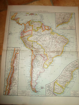 Old Map SOUTH AMERICA ~ Taken From The Universal Atlas 1893