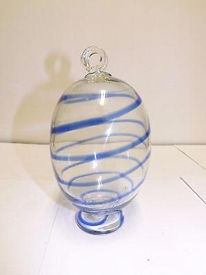 HAND BLOWN GLASS COBALT BLUE AND CLEAR HUMMINGBIRD FEEDER