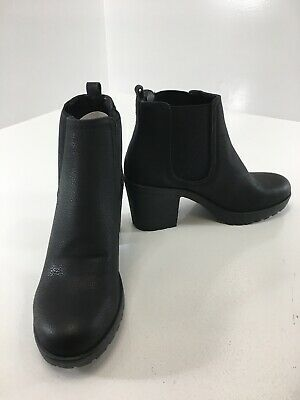 Boohoo Womens Chunky Cleated Heel Chelsea Boots Pebbled Black US:6/EUR:39 NEW