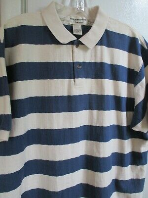 Vintage Abercrombie & Fitch Polo Shirt Blue Cream Stripe 100% Cotton