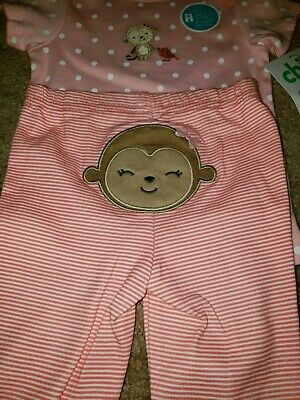 Carters- 2 piece infant set pants -top- monkey-pink-white- 3-6mth- NWT