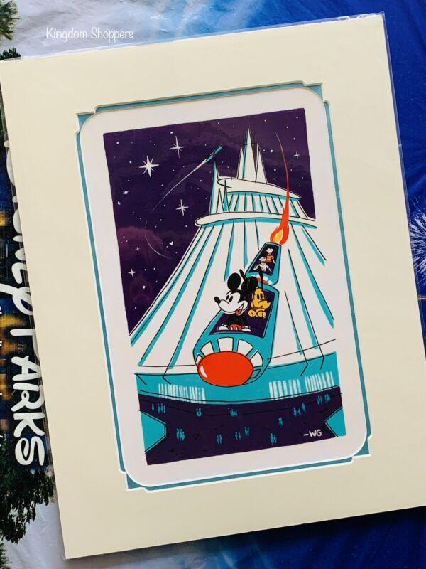 "2021 Disney Parks Mickey & Pluto Space Mountain Print Will Gay 14"" x 18"""