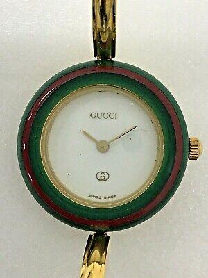 💯Gucci gold bangle ladies watch change plastic bezel quartz white dial 1100l