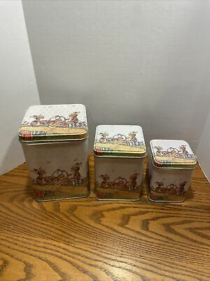 """3 VINTAGE EASTER SQUARE TINS 2.5"""" 3.5""""T BUNNY RABBITS WITH BASKET OF EGGS Nestin"""