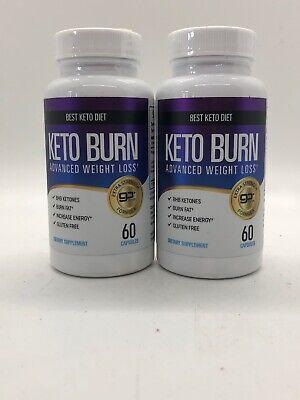 Lot of 2 Best Keto Diet Keto Burn Advanced Weight Loss 60 Caps Burn Fat
