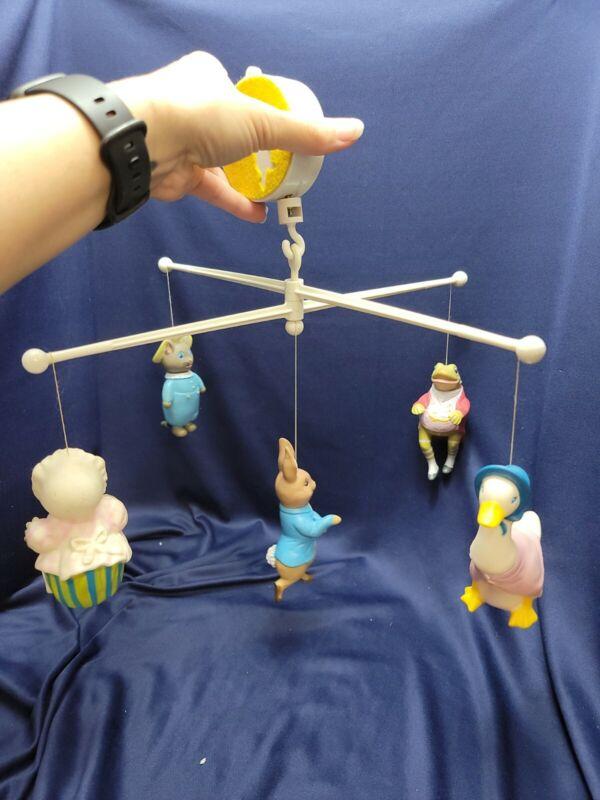 Vtg EDEN 1976 Beatrix Potter Musical Baby Crib Mobile Peter Rabbit & Friends