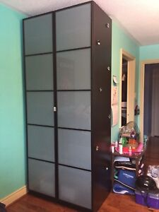 PAX black/brown wardrobe w frosted doors
