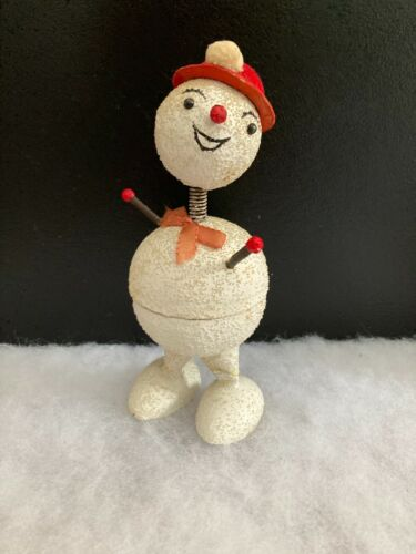 """Vintage 6 1/2"""" tall German SNOWMAN Candy CONTAINER"""