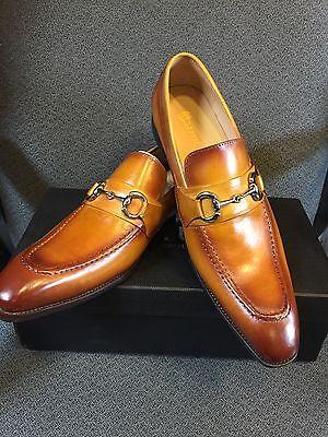 NEW CARRUCCI Men's Tan Dress Leather Bit Loafer Slip On Shoes  Size 14