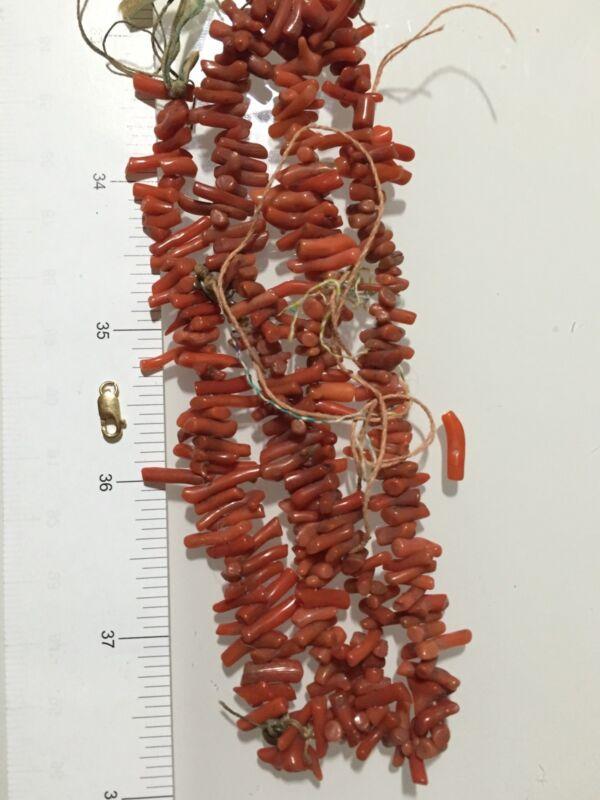 1950 Vintage Natural Raw Red Branch Coral Necklace Extra 10k YG Lobster 29gr