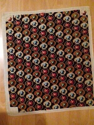 """Vintage Geometric Pattern Completed Cotton Tapestry Multicoloured 18.5"""" x 15.5"""