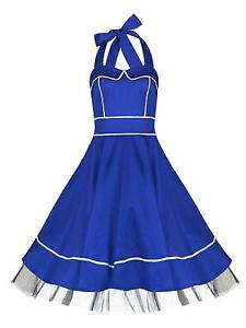 Classic-1950s-Nautical-Sailor-Blue-White-Rockabilly-Jive-Swing-Dress-New-8-18