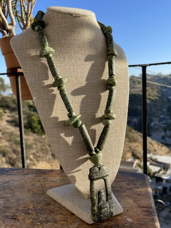 Original  PreColumbian Mezcala  Green Stone  Temple Necklace