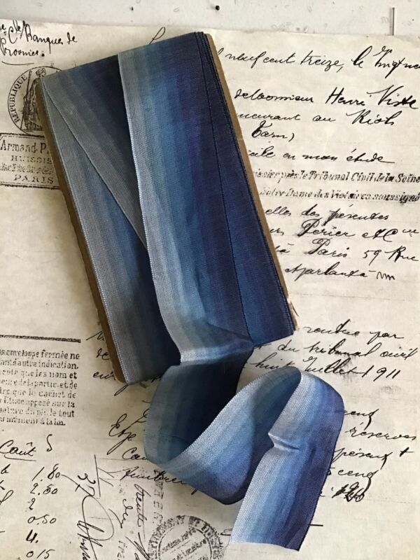 """1 Yard Vintage French Blue Ombre Rayon/Cotton Ribbon Flowers 1 1/2"""""""