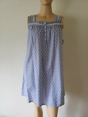 Blue Nightgown (NWT Women's Sleeveless Nightgown Croft & Barrow 100% Woven Cotton Textured Blue )