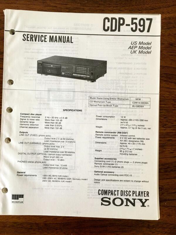 Sony CDP-597  Service Manual *Original*