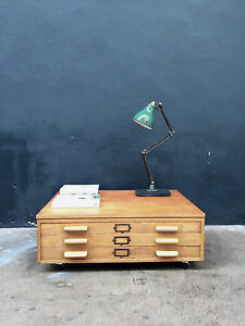 Vintage 50s Plan Chest Coffee Table Drawers. Map. Retro. Industrial Shop Fit