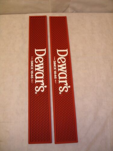 (2) Dewars Scotch Whiskey - Barware Rubber Bar Rail Spill Mat - Dark Red - NEW