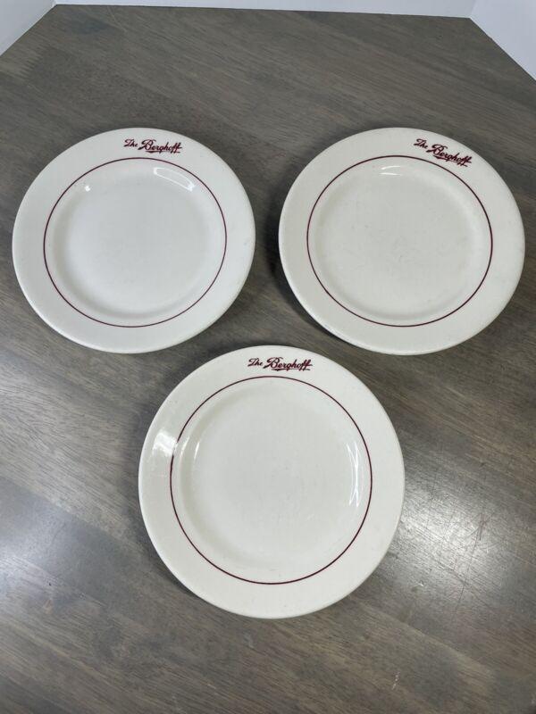 "Vintage Set of 3 THE BERGHOFF Buffalo China Salad Plates 7"" Restaurant Ware"