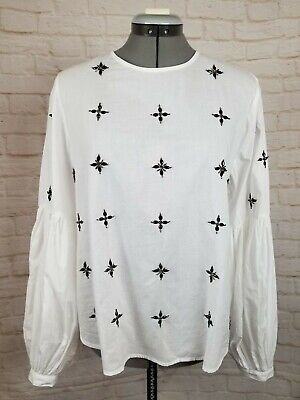 Gap Women's Top Large White Glass Beads-Balloon Long Sleeves-Casual Crew Neck (India Summer Glasses)