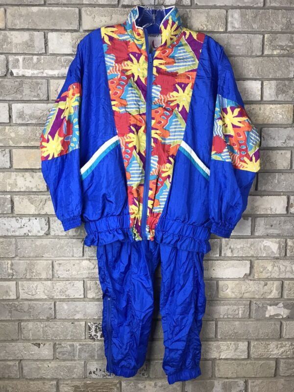 Vintage 80s 90s Avait Sportif Petite Small Nylon Abstract Windbreaker Track Suit