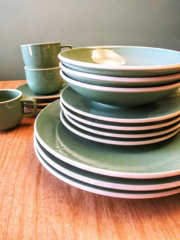 SASAKI Colorstone VERT DE GRIS Dinner & Sandwich Plates, Soup Bowls, Cups/Saucer