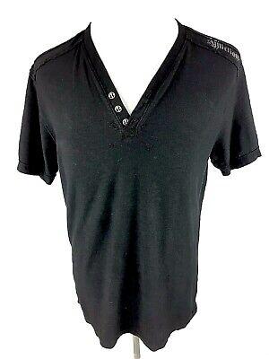 Affliction Standard Series Henley Button Tee Shirt M Medium Black Short Sleeve