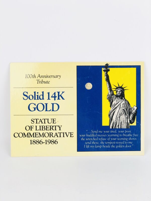 Vintage Statue of Liberty 100th Anniversary Collectible Solid 14k Gold Coin