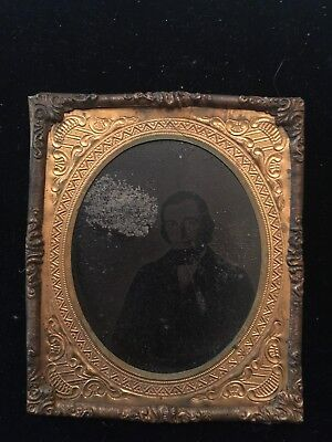 Antique Tintype Portrait Of Man in Ornate Frame