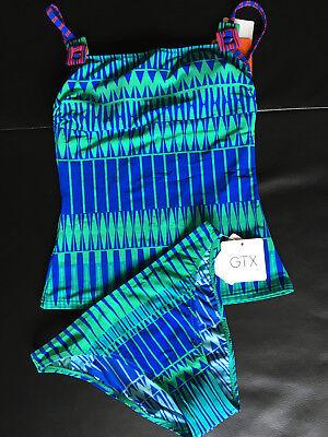 GOTTEX Bikini Badeanzug Tankini Set Gr. 36 & 75B, Blau-Türkis, Neu mit Etikett - Gottex Tankini