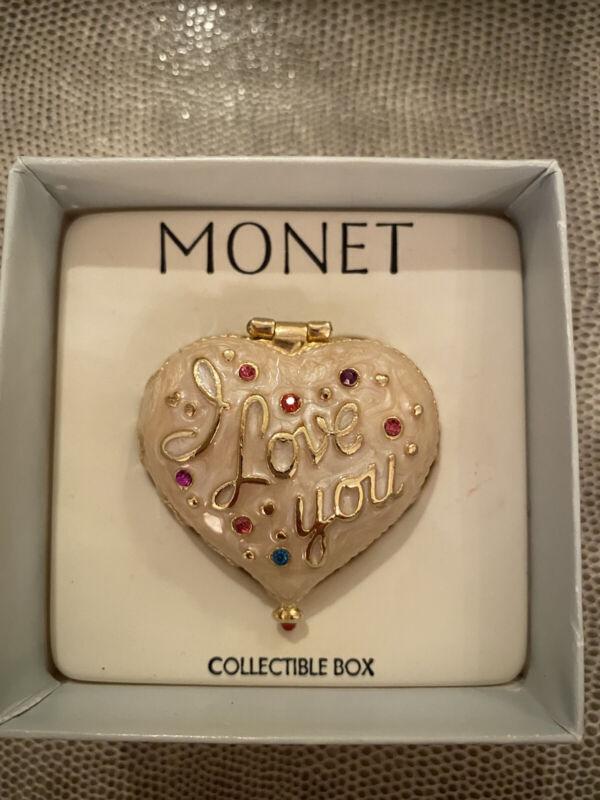 Monet Heart I Love You Vintage Collectible Trinket Enameled Box