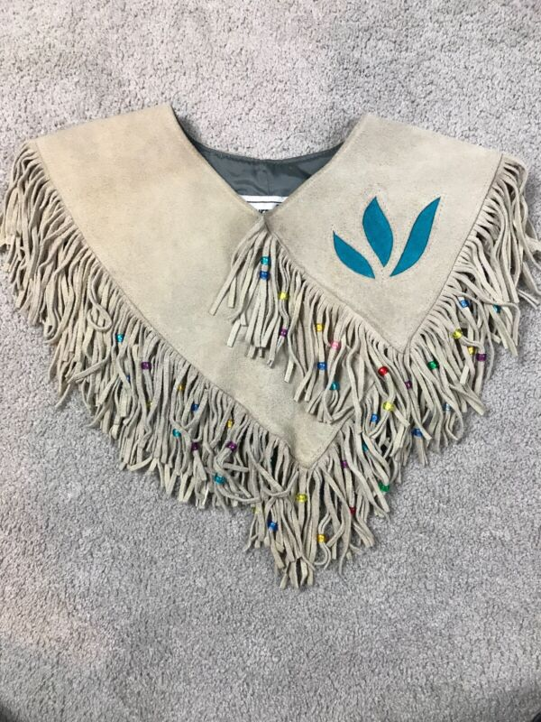 pioneer wear fringe collar Tan suede leather western vintage Made USA One Size
