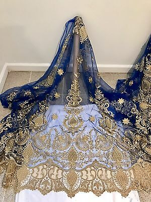 Royal Mesh Gold Metallic Embroidery  Lace Fabric 50  Wide 1 Yard