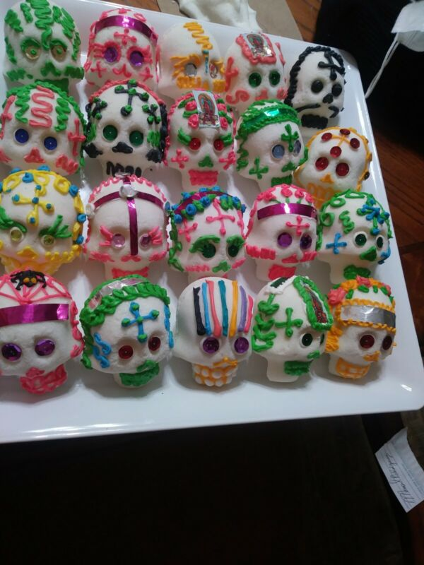 REAL DAY OF THE DEAD SUGAR SKULLS 2PC SET