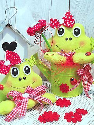 ❤️ Frosch-Frösche mit Kanne-süßes Set-Frühling-Sommer-nach Tilda Art-Deko ❤️