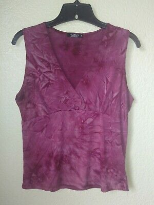 Hiatus Women's Burgundy Stretch Polyester Sleeveless Top Size XL FITS SMALLER